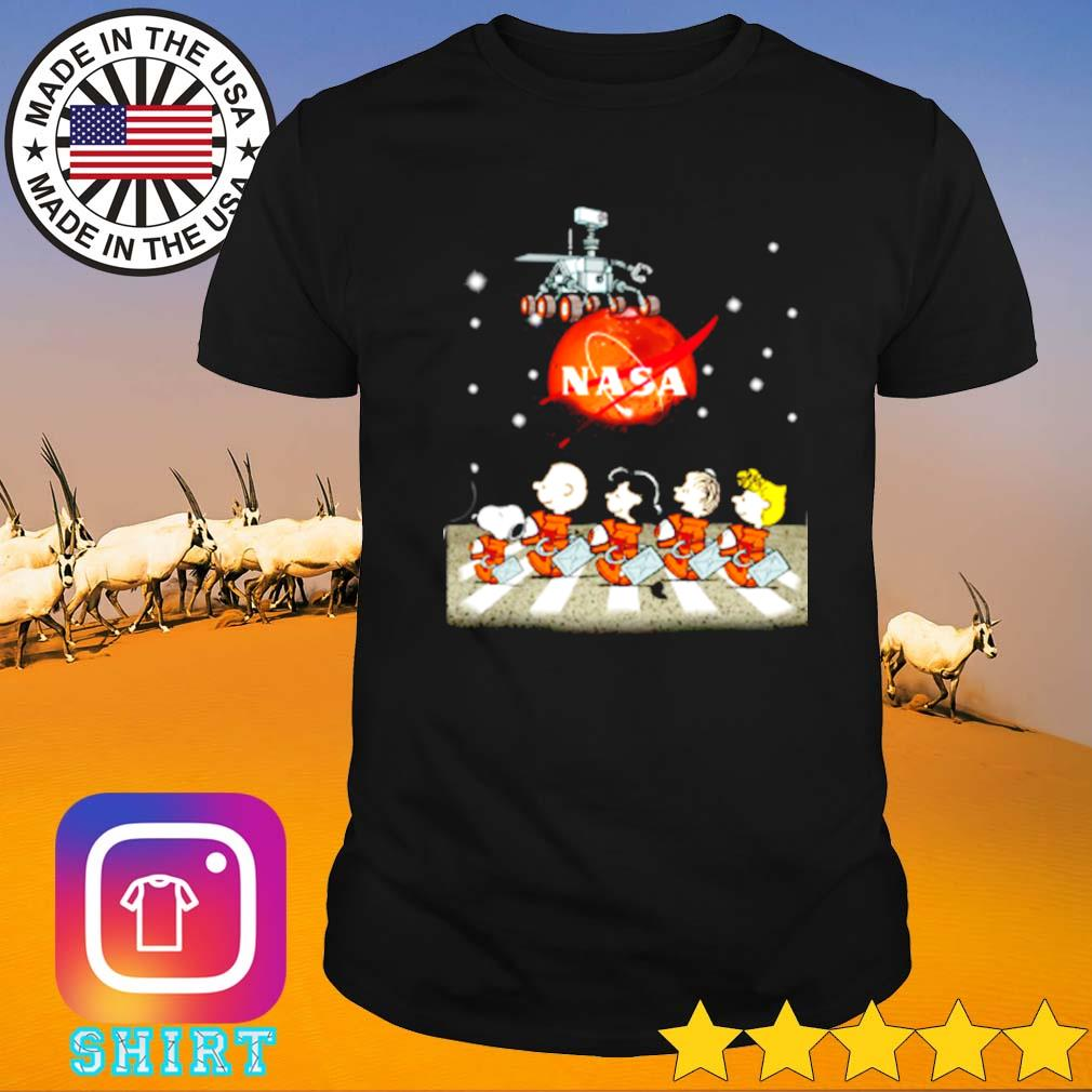 Mars nasa snoopy charlie browns with friends abbey road shirt