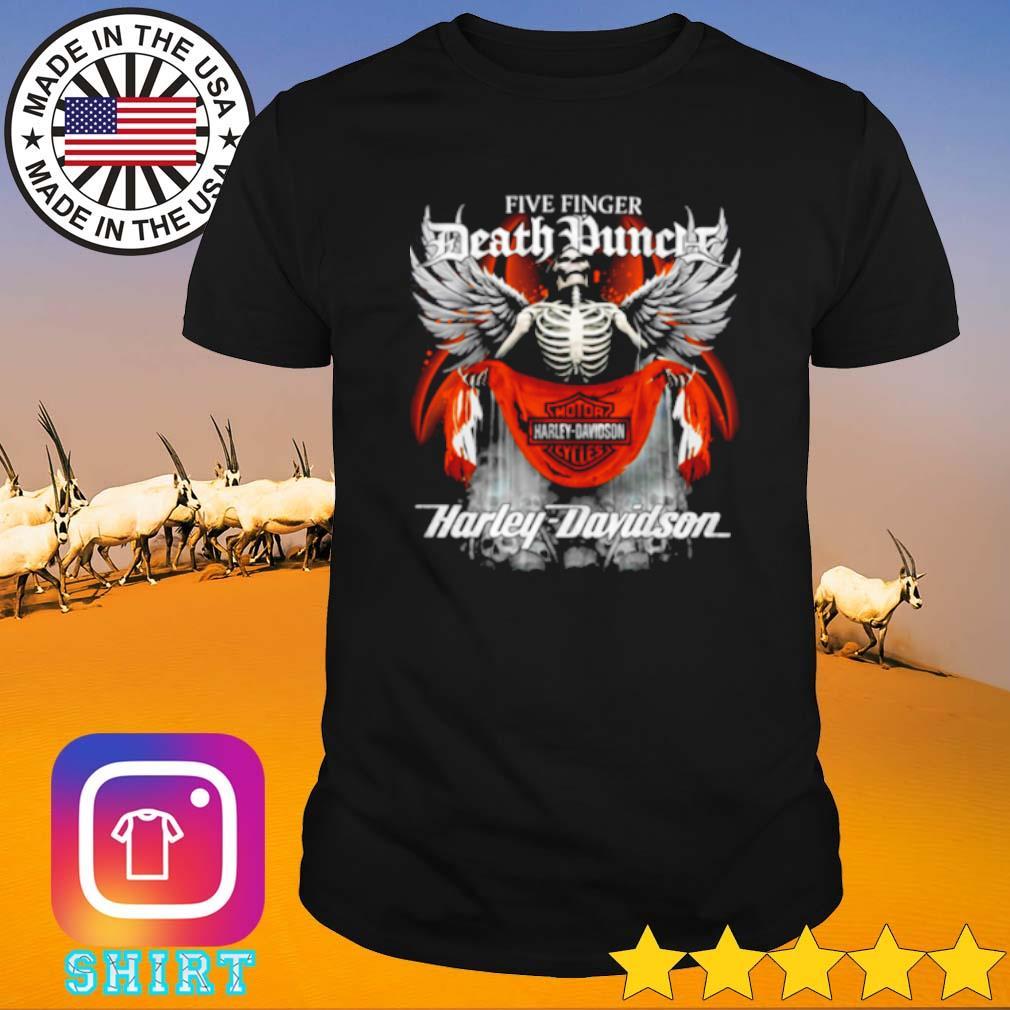 Skeleton Five finger death punch motor Harley-Davidson cycles shirt