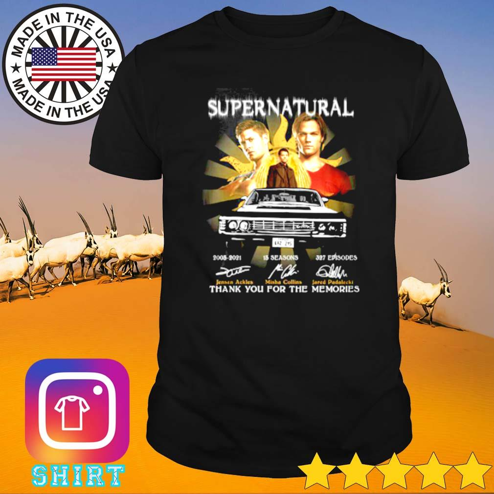 Supernatural 2005-2021 15 seasons 327 episodes thank you for the memories signatures shirt