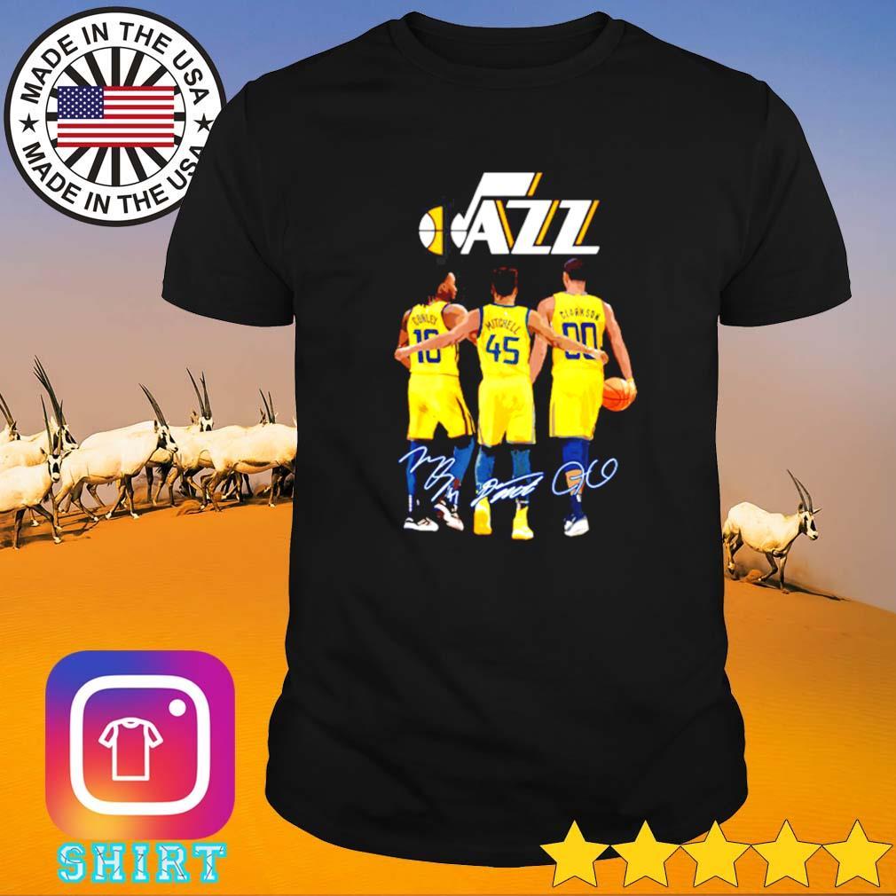 Utah Jazz Conley 10 Mitchell 45 Clarkson 90 signatures shirt