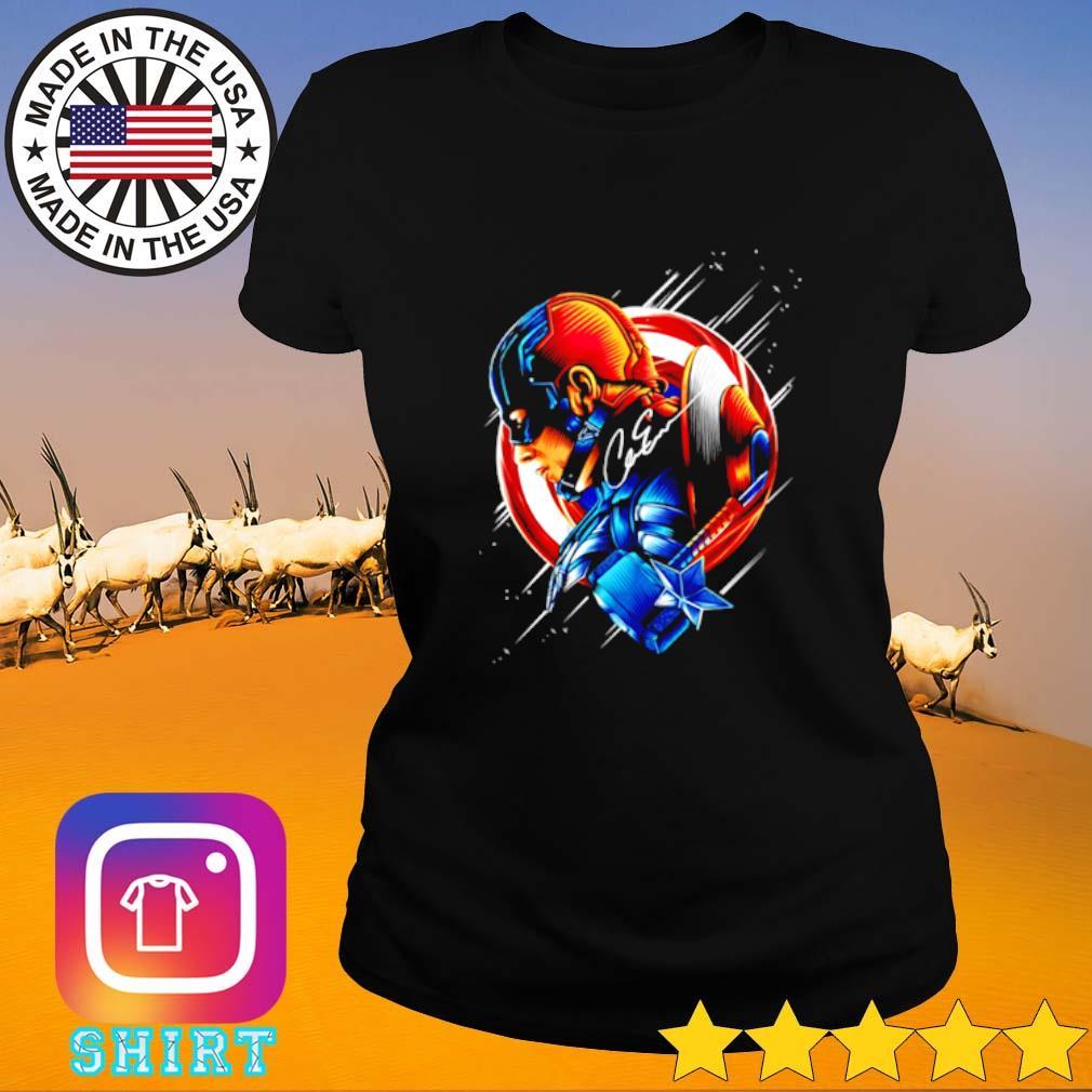 Chris Evans Captain America star light color signature Ladies tee