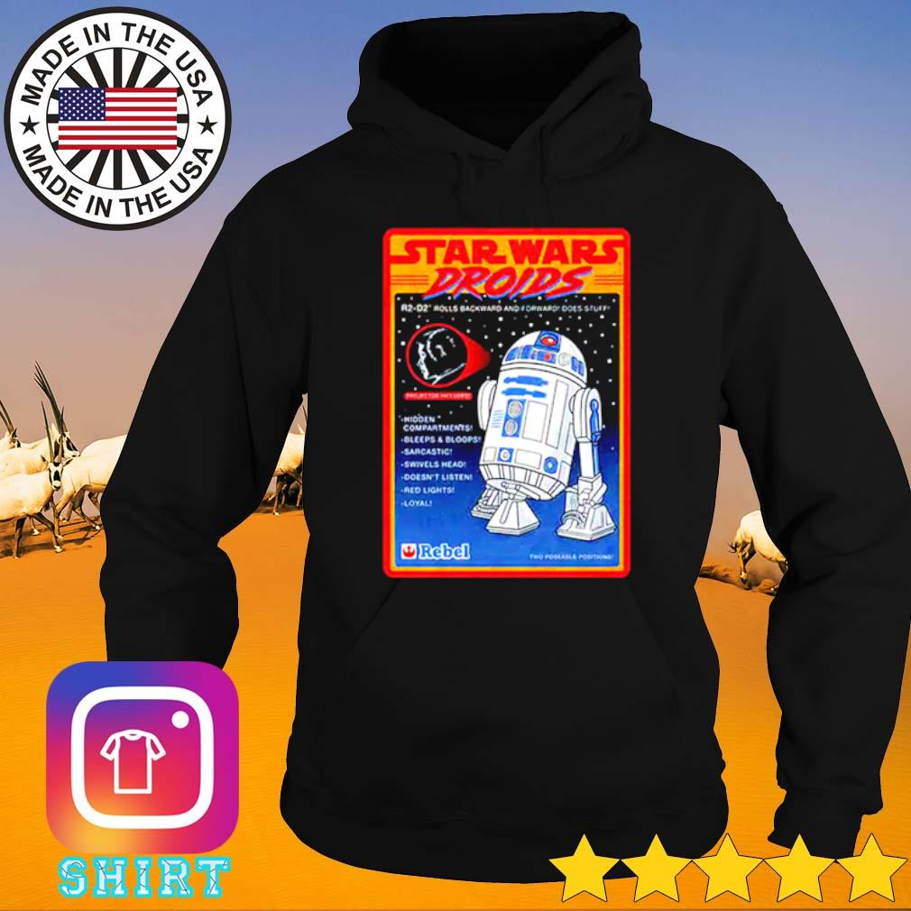 Figure Star Wars droids R2-D2 rolls backward and forward does stuff hidden compartments Hoodie