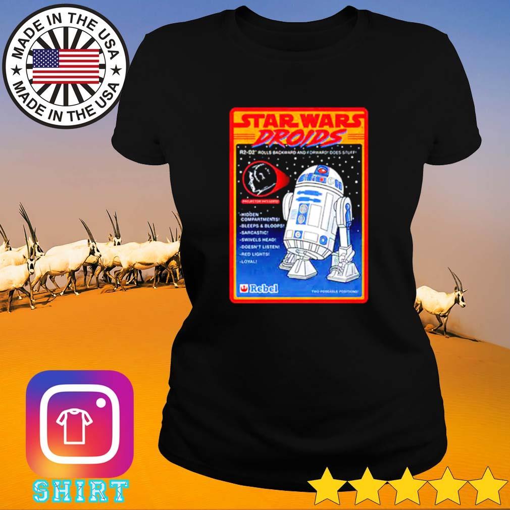 Figure Star Wars droids R2-D2 rolls backward and forward does stuff hidden compartments Ladies tee