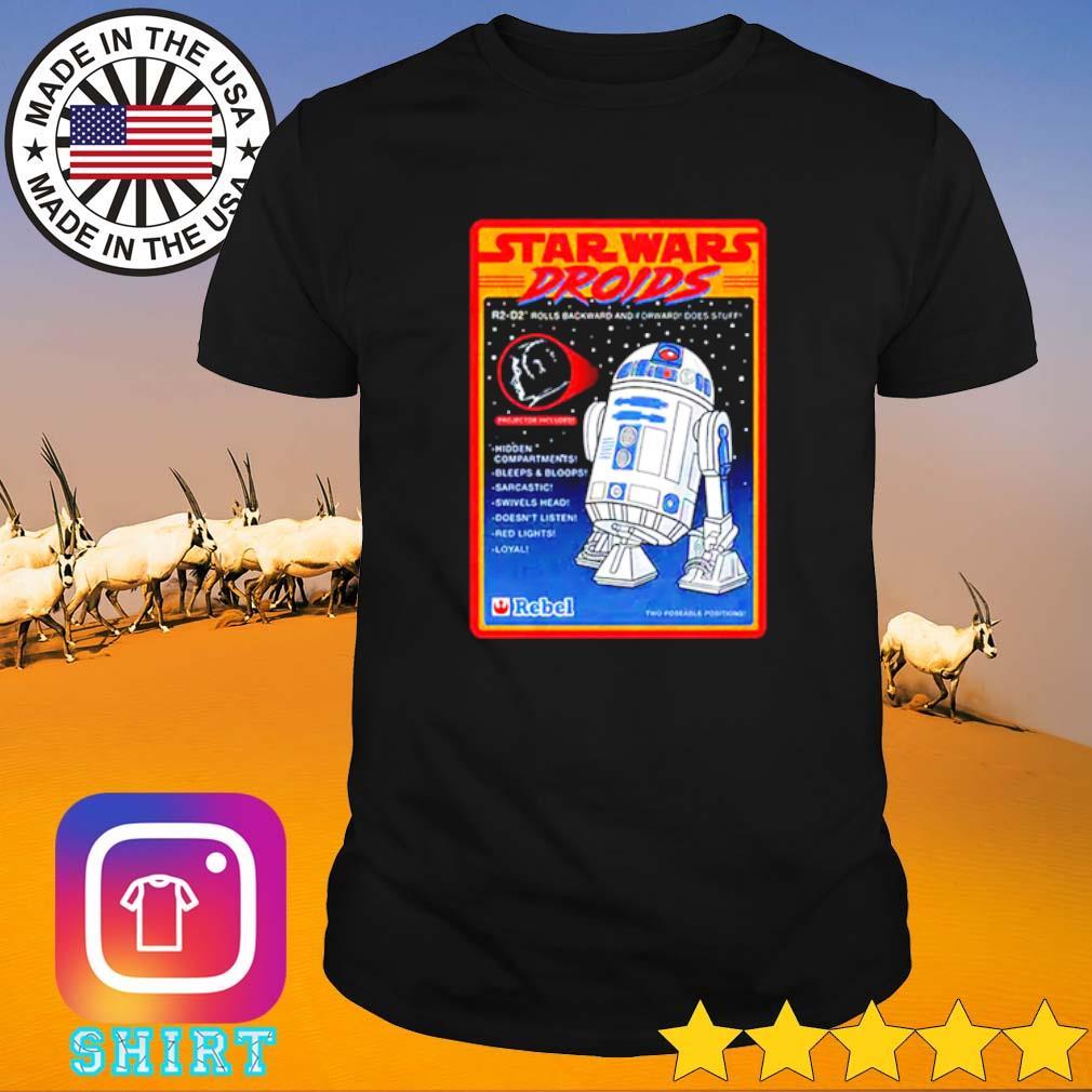 Figure Star Wars droids R2-D2 rolls backward and forward does stuff hidden compartments shirt