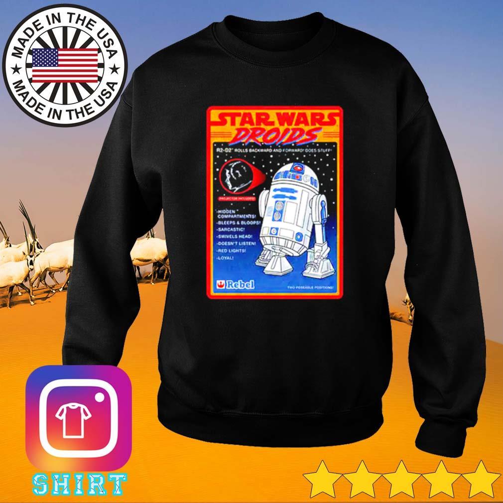 Figure Star Wars droids R2-D2 rolls backward and forward does stuff hidden compartments Sweater