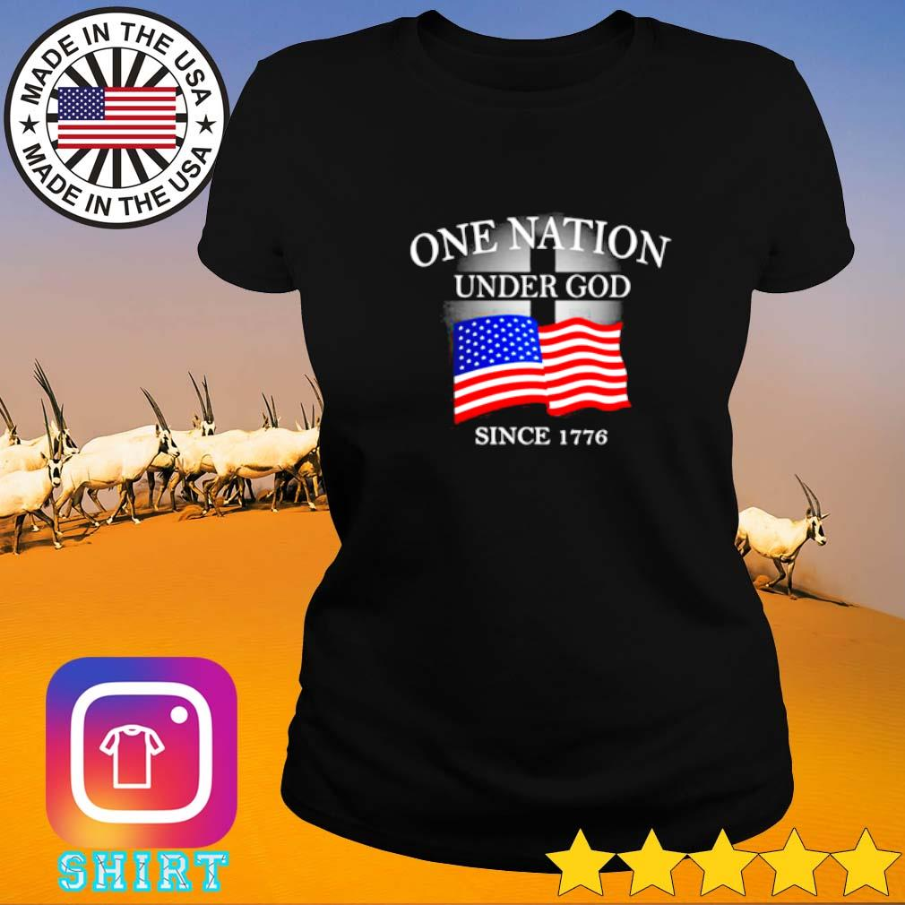 One nation under god since 1776 American flag Ladies tee