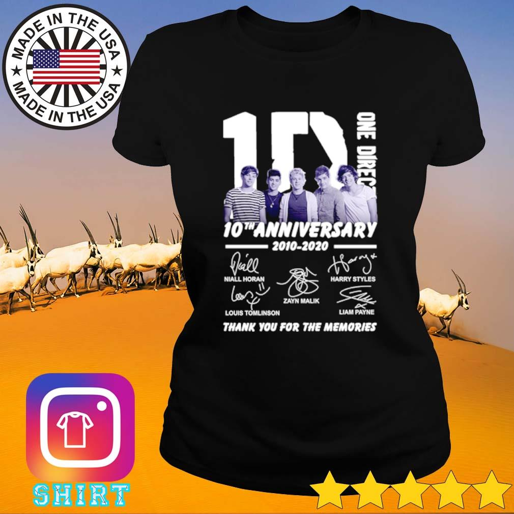 1D One Direction 10th Anniversary 2010-2020 all members signatures s Ladies Tee black