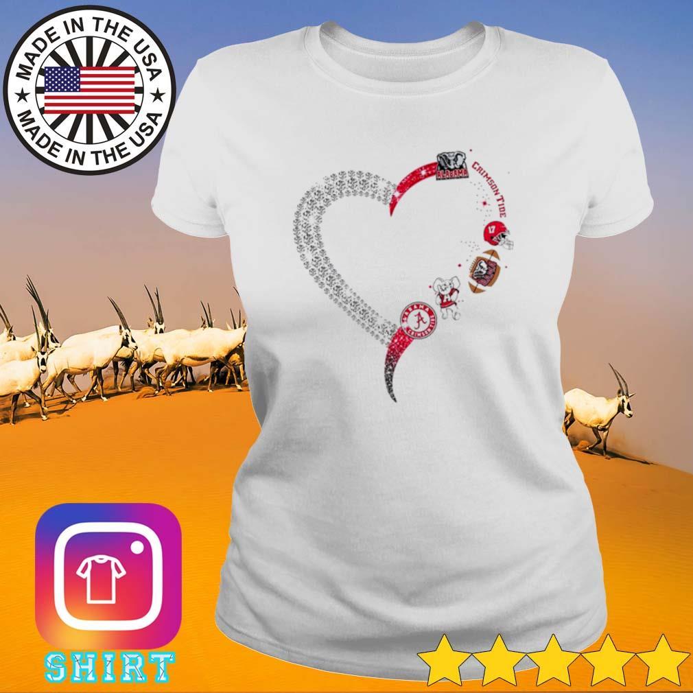 Heart love Alabama Crimson Tide s Ladies Tee White