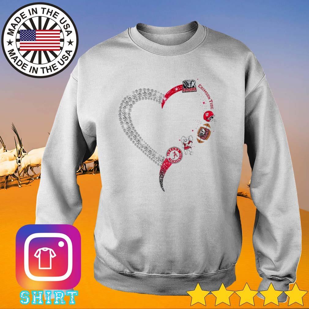 Heart love Alabama Crimson Tide s Sweater White