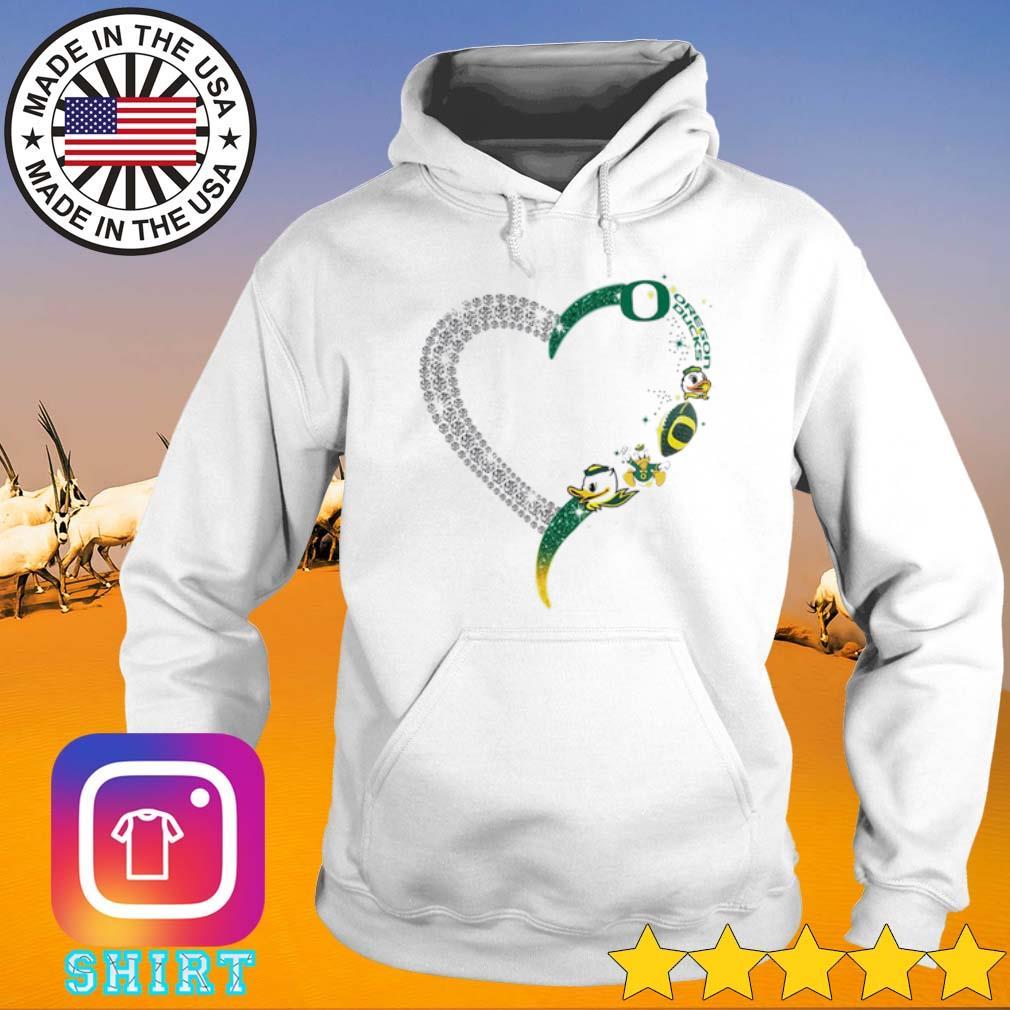 Heart love Oregon Ducks s Hoodie White