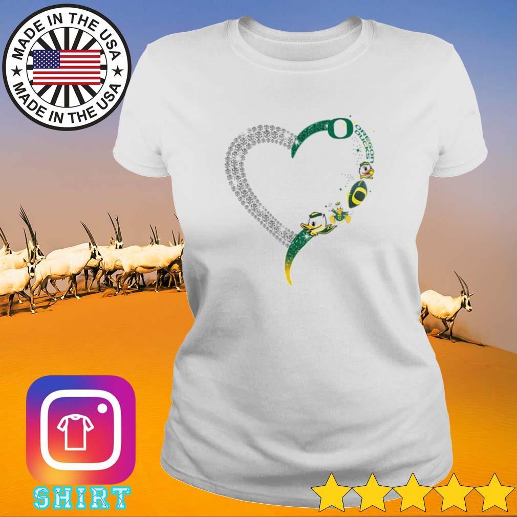 Heart love Oregon Ducks s Ladies Tee White