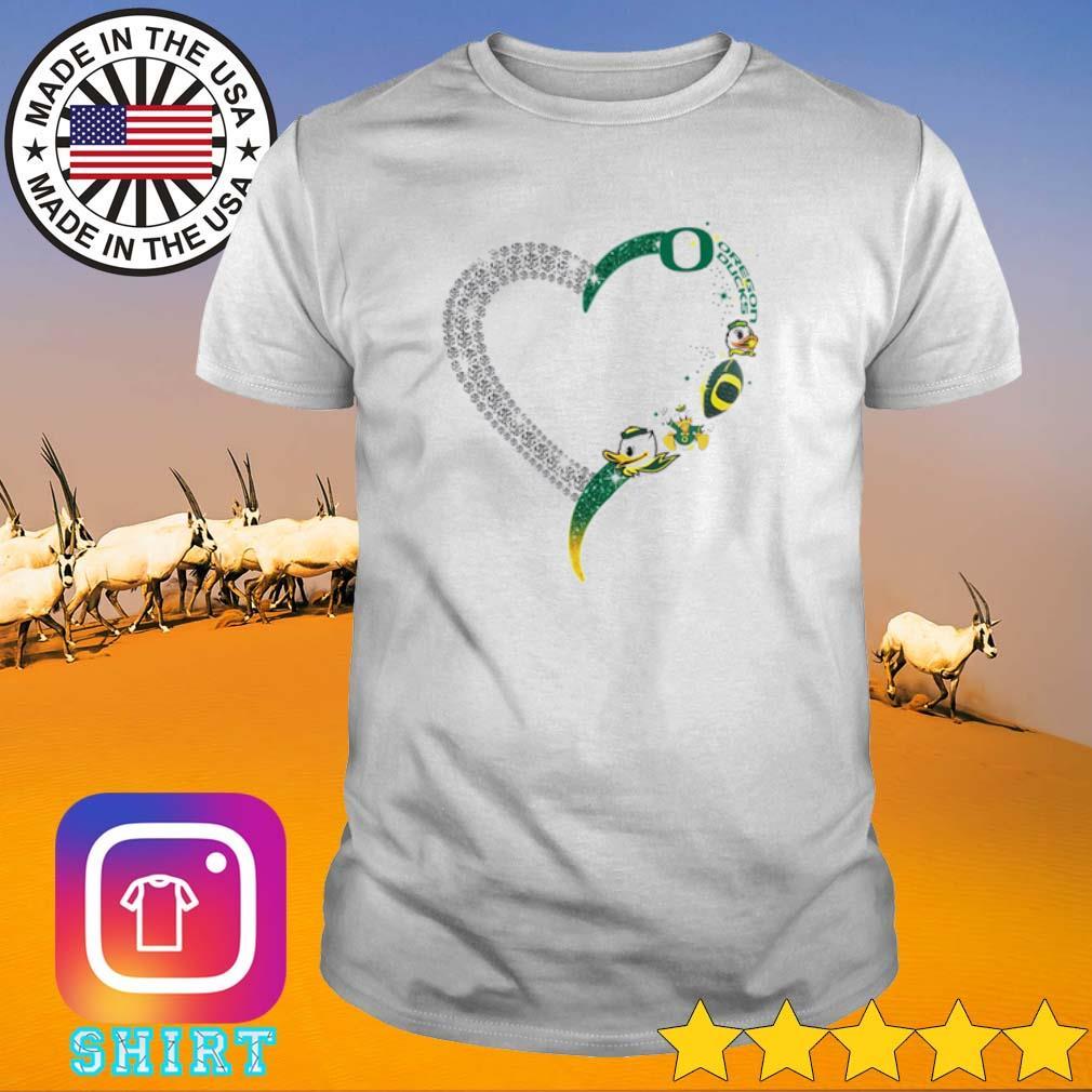 Heart love Oregon Ducks shirt