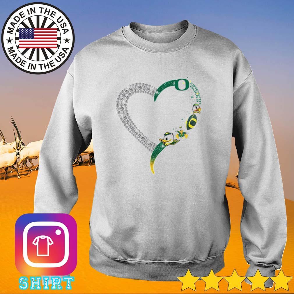 Heart love Oregon Ducks s Sweater White