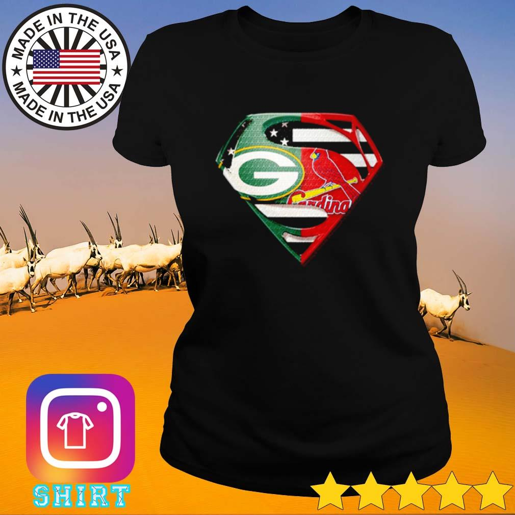Superman Green Bay Packers and St. Louis Cardinals s Ladies Tee black