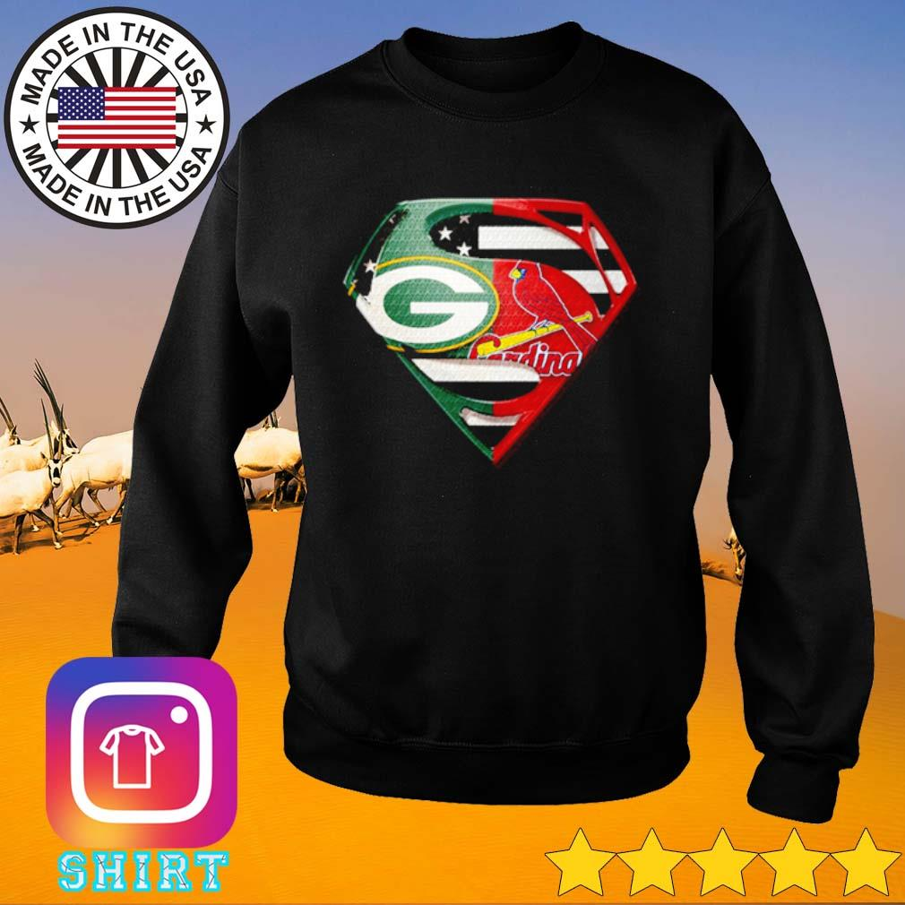 Superman Green Bay Packers and St. Louis Cardinals s Sweater black