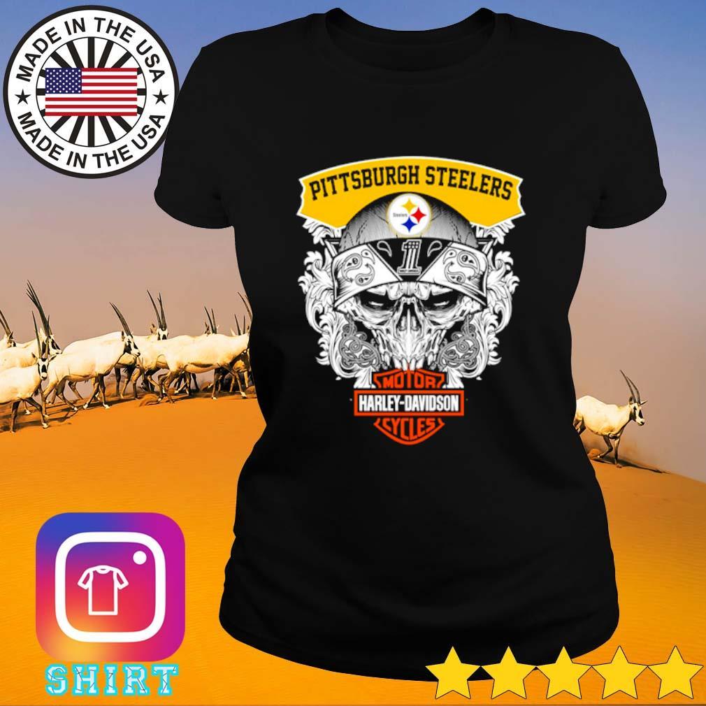 Skull Pittsburgh Steelers Motor Harley-Davidson Cycles s Ladies Tee black
