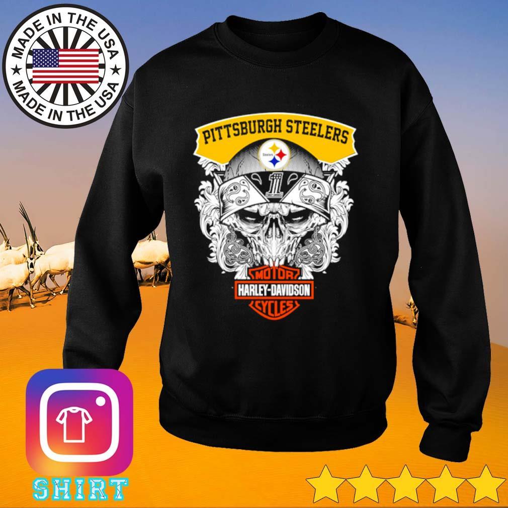 Skull Pittsburgh Steelers Motor Harley-Davidson Cycles s Sweater black