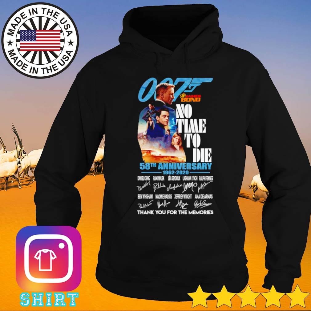 007 James Bond no time to die 58th Anniversary 1962-2020 thank you for the memories s Hoodie black