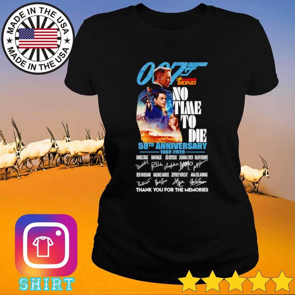 007 James Bond no time to die 58th Anniversary 1962-2020 thank you for the memories s Ladies Tee black