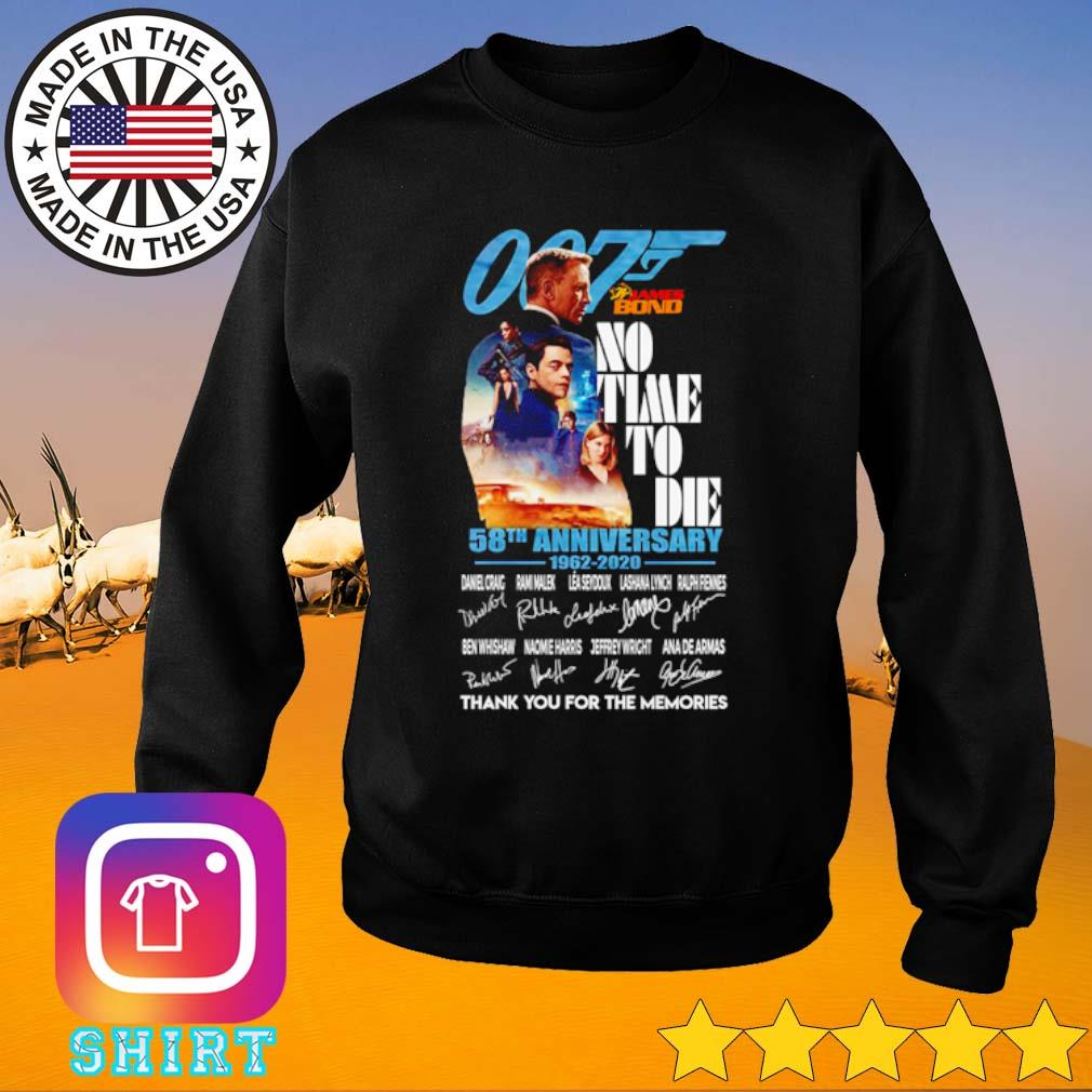 007 James Bond no time to die 58th Anniversary 1962-2020 thank you for the memories s Sweater black