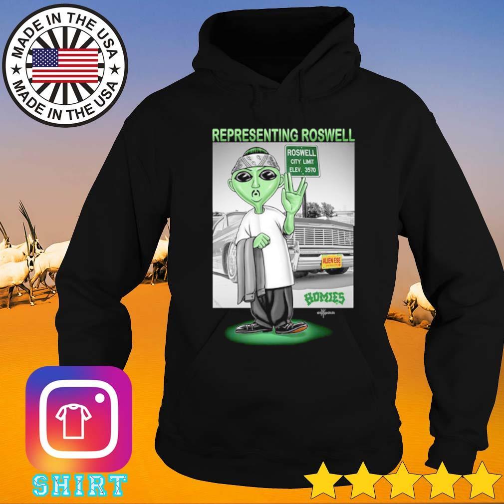 Aliens Representing roswell Homies s Hoodie black