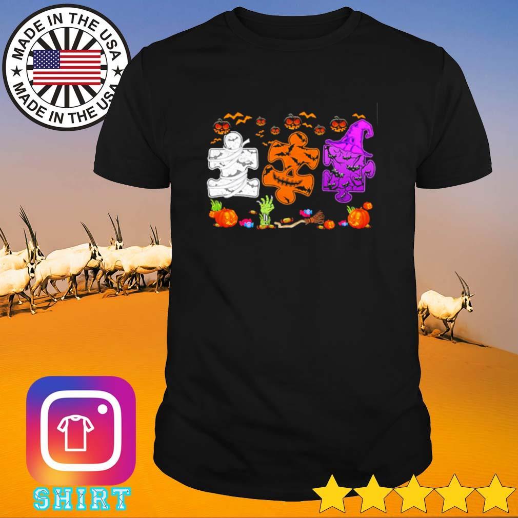 Autism awareness Halloween white orange and purple shirt