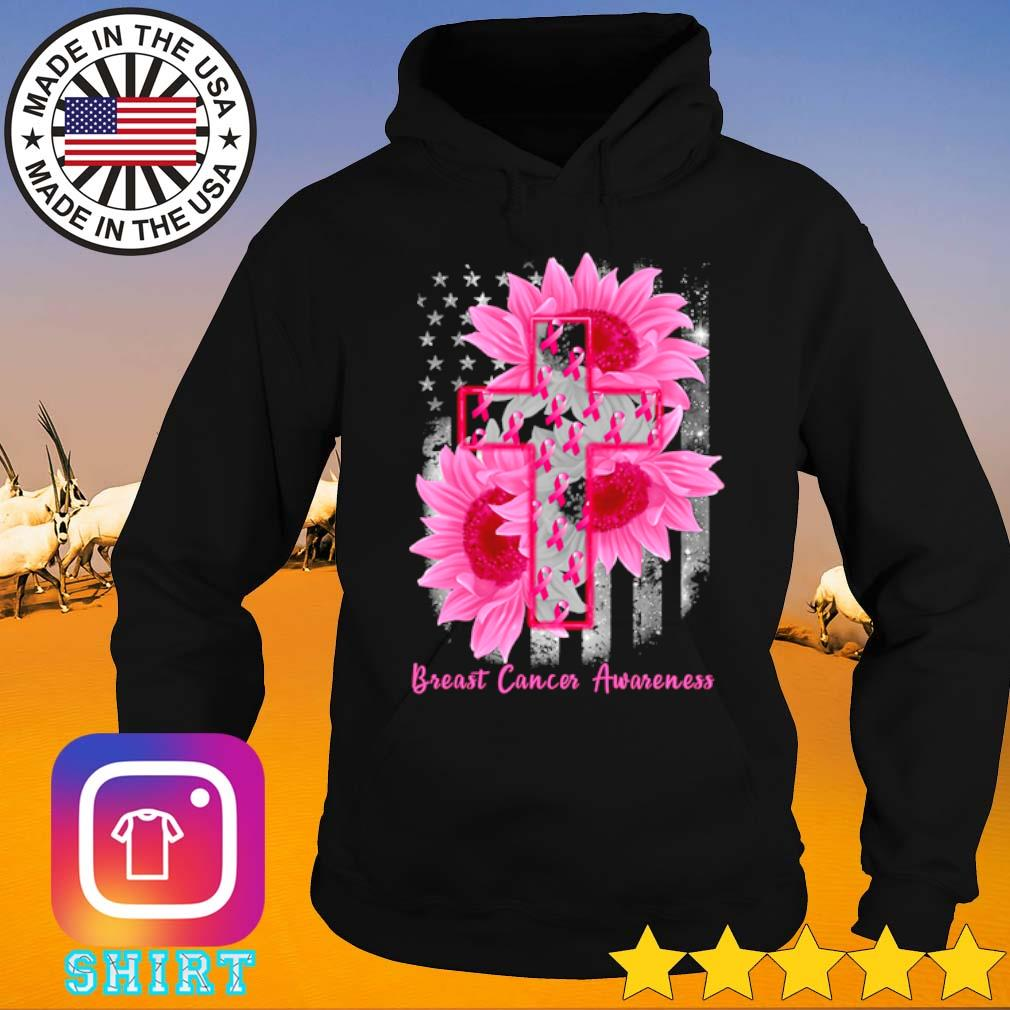 Cross Sunflower Breast Cancer Awareness pink veteran s Hoodie black