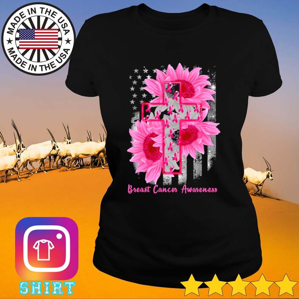 Cross Sunflower Breast Cancer Awareness pink veteran s Ladies Tee black