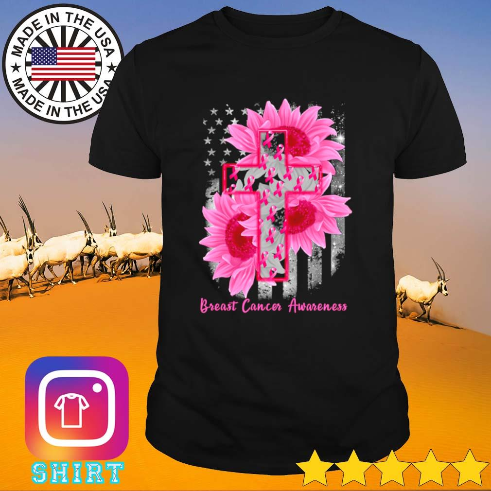 Cross Sunflower Breast Cancer Awareness pink veteran shirt