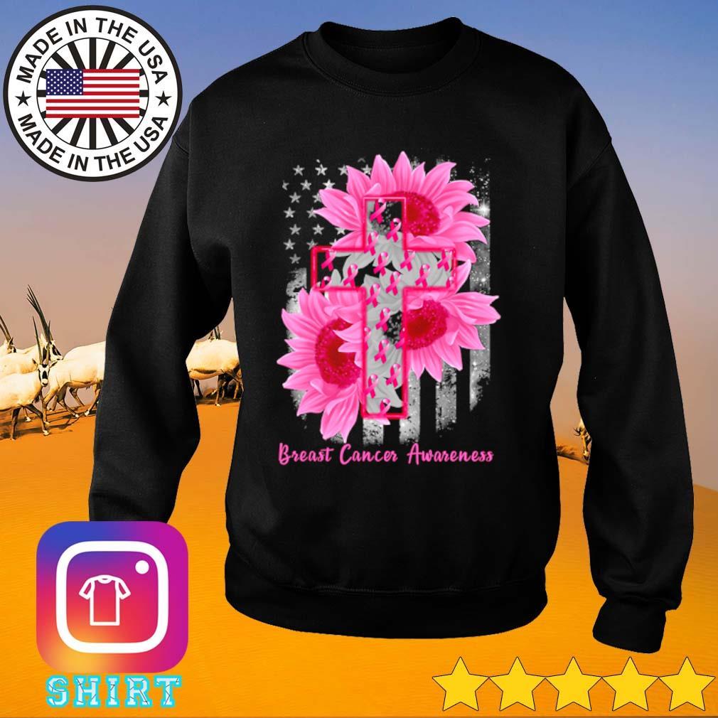 Cross Sunflower Breast Cancer Awareness pink veteran s Sweater black