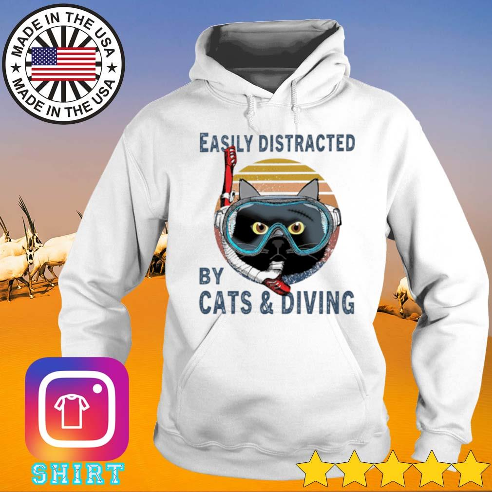Easily distracted by cats and diving vintage s Hoodie White