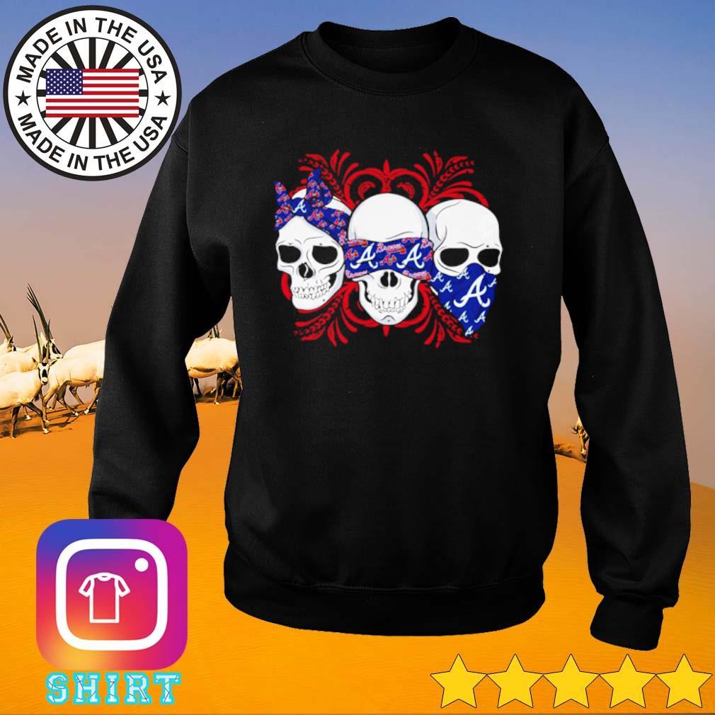Skull wearing bandana Atlanta Braves s Sweater black