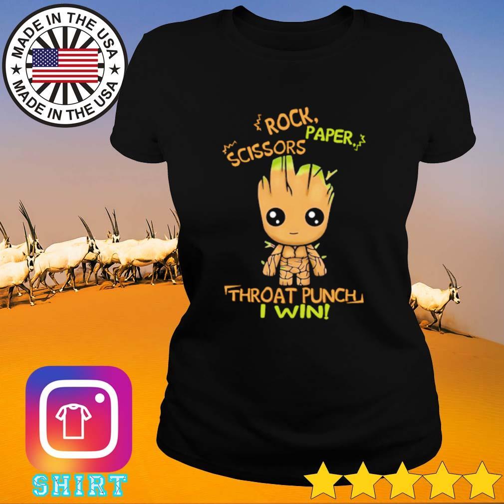 Baby Groot rock paper scissors throat punch I win s Ladies Tee black