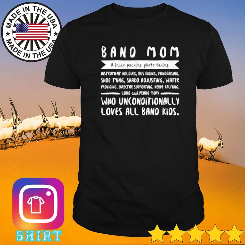 Band mom a snack packing photo taking instrument holding bus riding fundraising shoe tying shirt