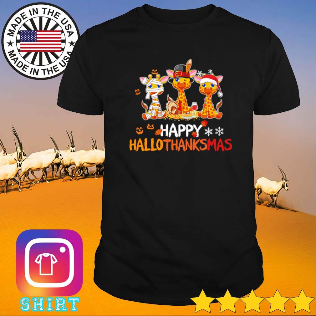 Giraffe happy Hallothanksmas shirt
