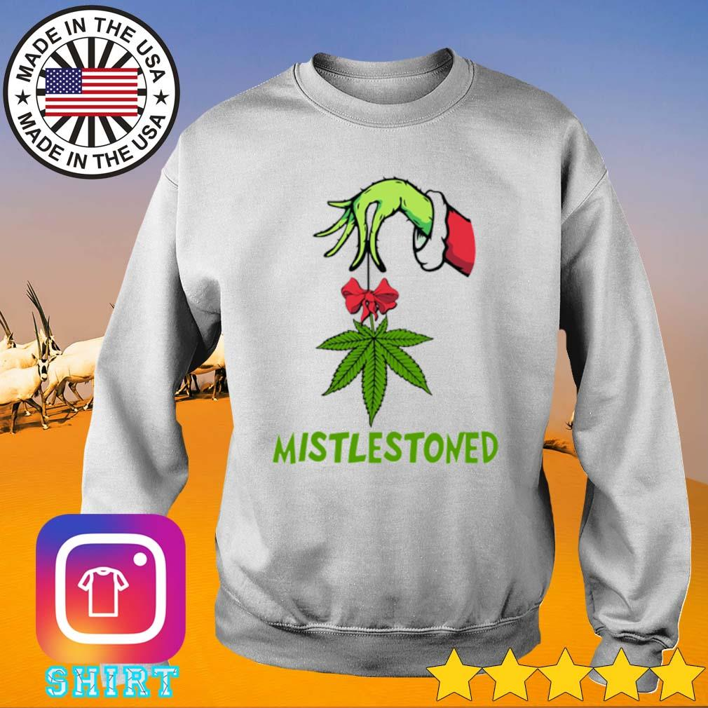 Hand Grinch holding weed mistlestoned Christmas sweater