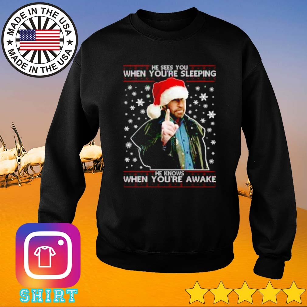 He sees you when you're sleeping he knows when you're awake Christmas sweater