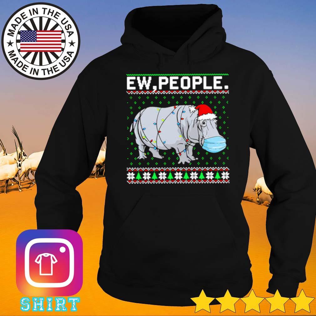Hippopotamus ew people Santa hat ugly Christmas sweater Hoodie