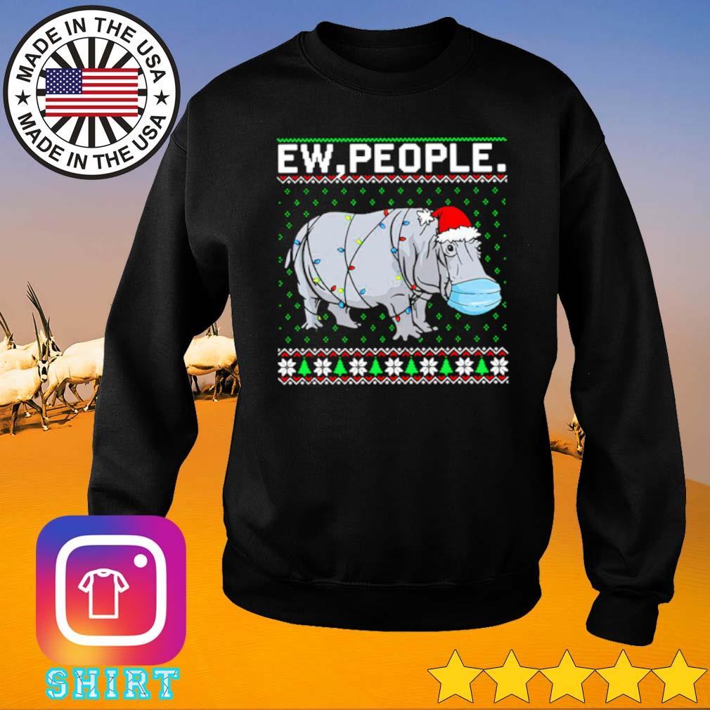 Hippopotamus ew people Santa hat ugly Christmas sweater