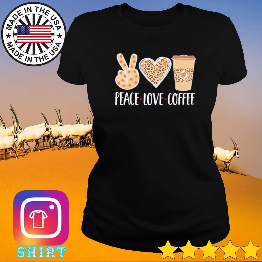 Leopard peace love coffee s Ladies tee