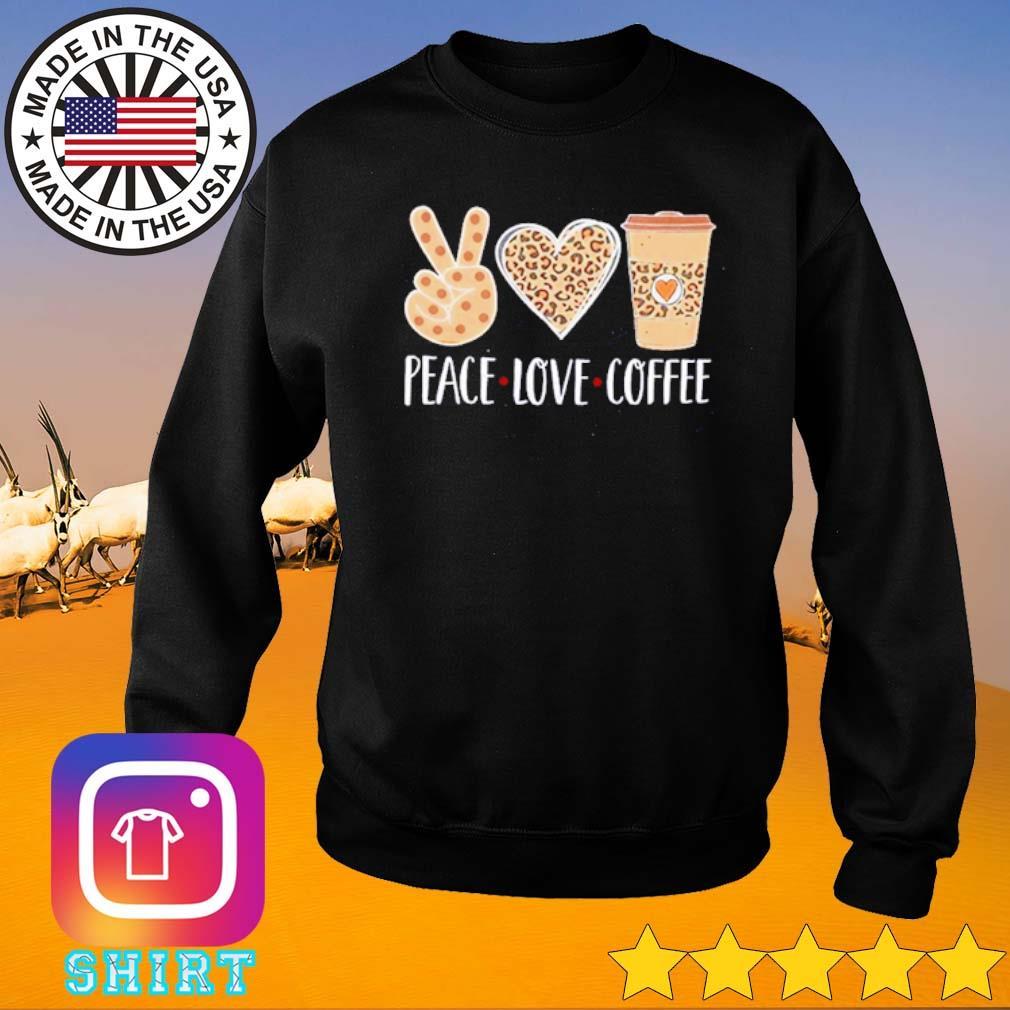 Leopard peace love coffee s Sweater