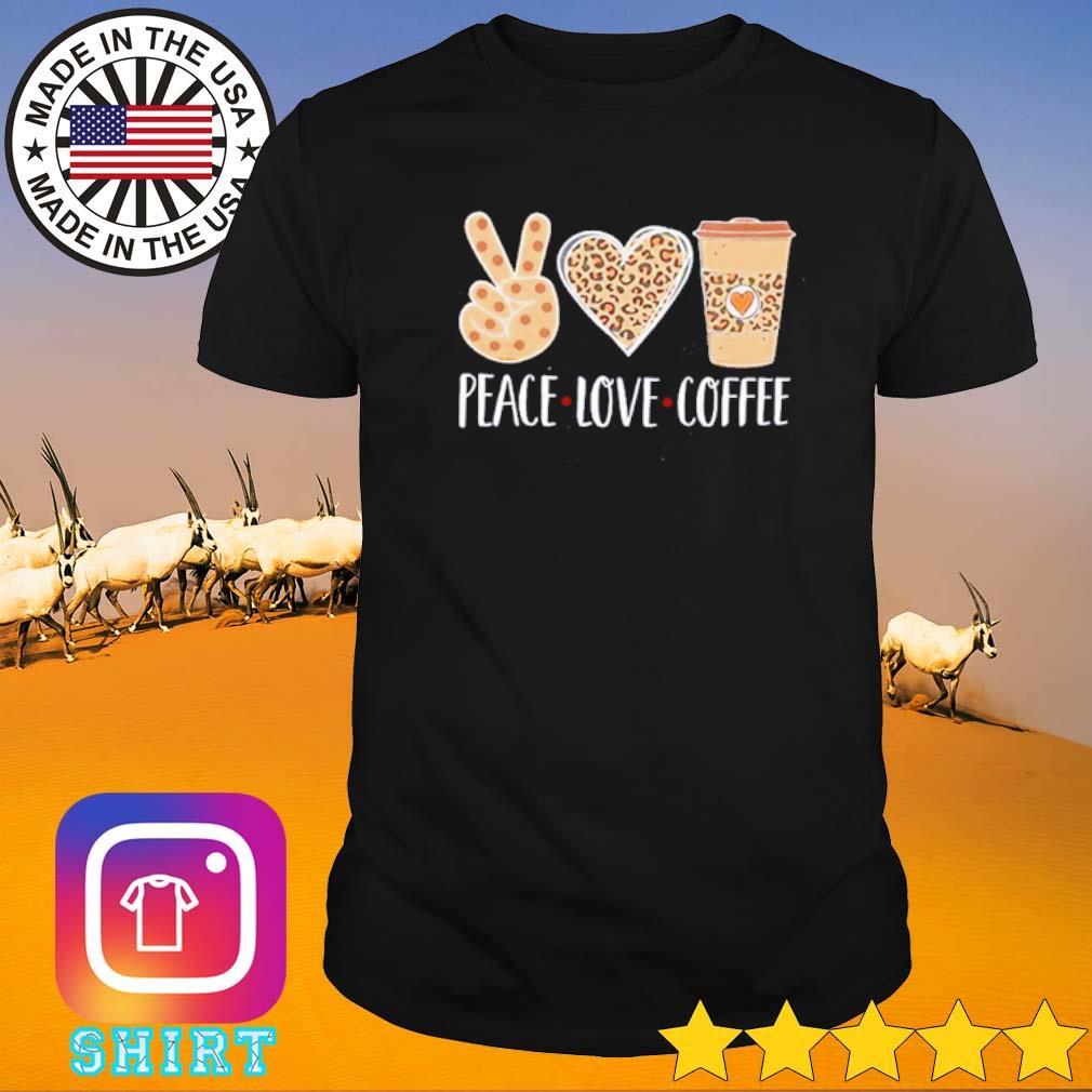 Leopard peace love coffee shirt