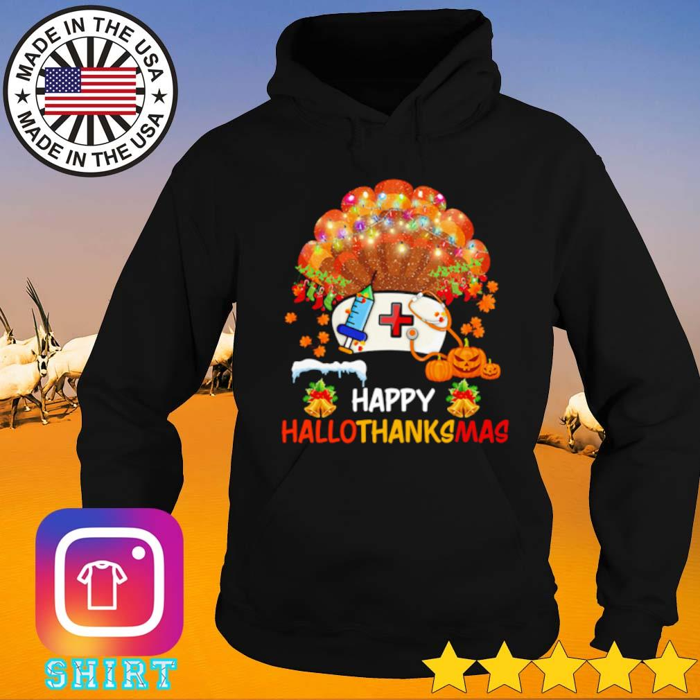 Pearl nurse happy hallothanksmas Halloween Thanksgiving and Christmas s Hoodie black