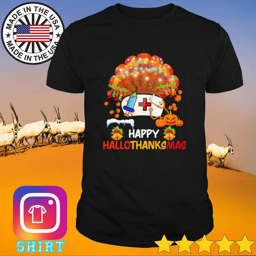 Pearl nurse happy hallothanksmas Halloween Thanksgiving and Christmas shirt