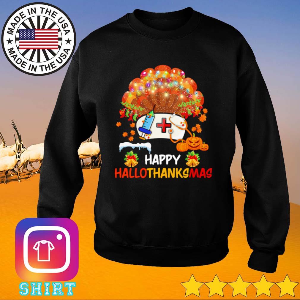 Pearl nurse happy hallothanksmas Halloween Thanksgiving and Christmas s Sweater black