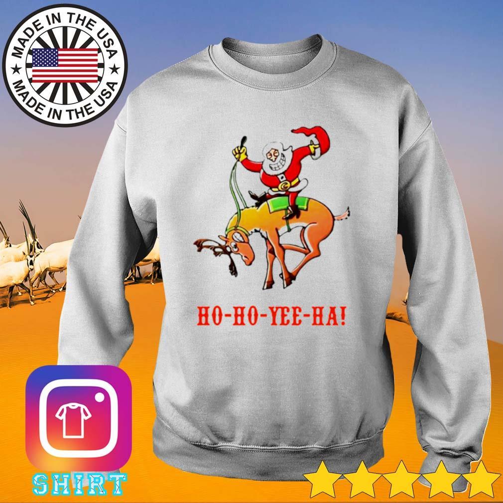 Santa Claus riding reindeer Ho Ho Yee Ha Christmas sweater