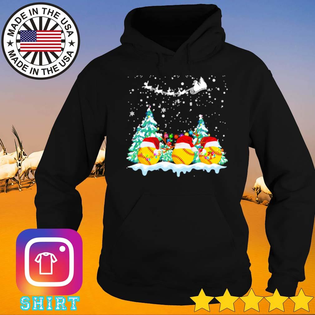 Softball Santa hat snow merry Christmas sweater Hoodie
