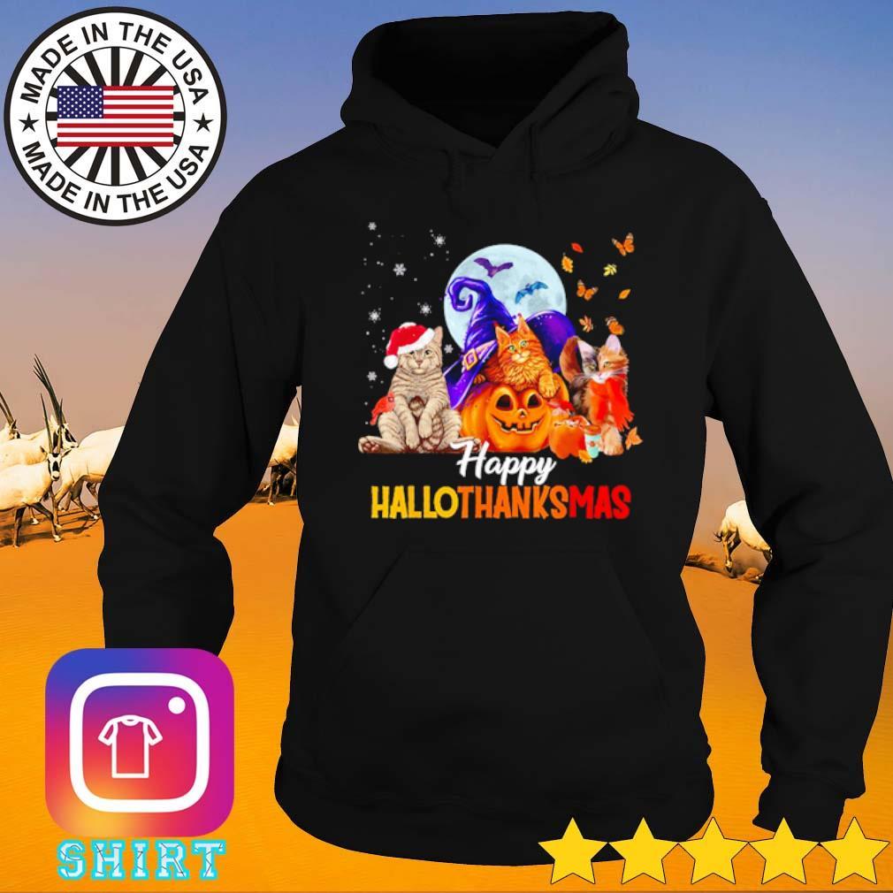Three cats pumpkin happy hallothanksmas Halloween Thanksgiving and Christmas s Hoodie