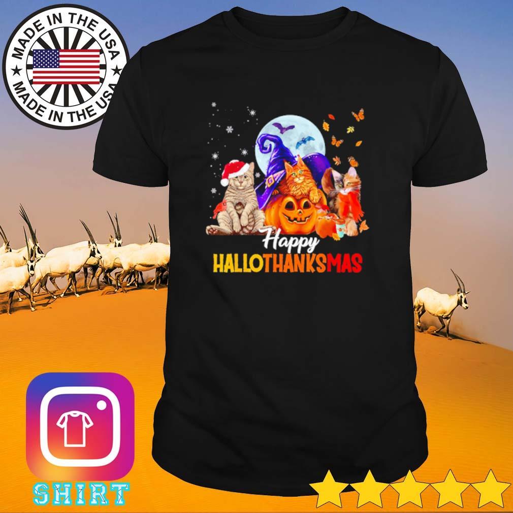 Three cats pumpkin happy hallothanksmas Halloween Thanksgiving and Christmas shirt