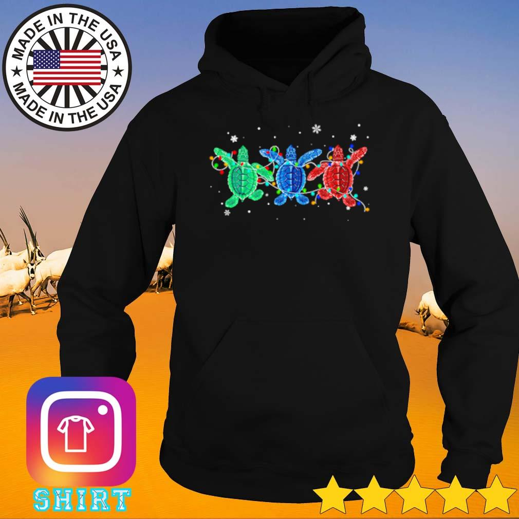 Three turtles green blue and red light Christmas sweater Hoodie